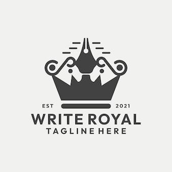 Hipster write royal com coroa e caneta logo vector