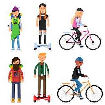 Hipsters fazem uma viagem. pilotos de bicicletas. conjunto de caracteres do vetor