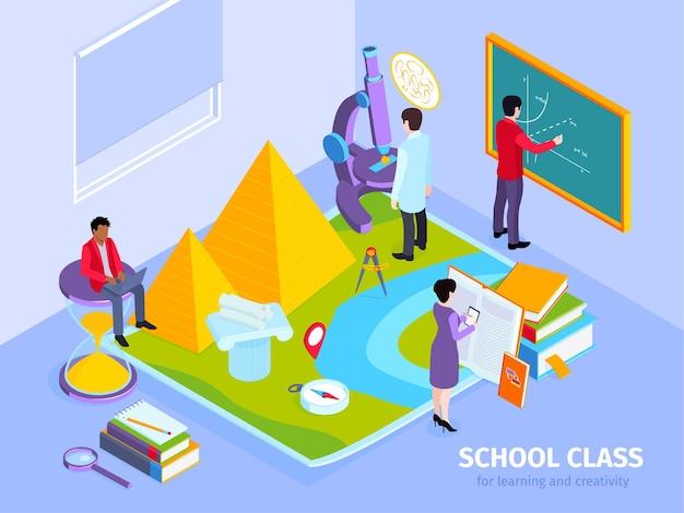 História da escola, aula de matemática, composição isométrica com o professor sentado no quadro-negro ampulheta das pirâmides egípcias
