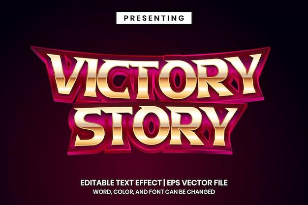 História da vitória - efeito de texto editável do estilo de logotipo de filme de super-herói