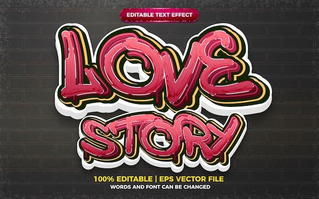 História de amor estilo de arte graffiti efeito de texto editável 3d