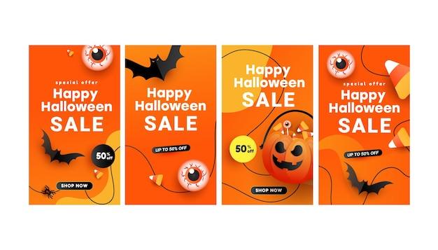 História de banner de venda de halloween definida para banners de mídia social histórias insta definir conceito de travessura ou travessura