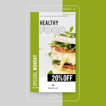 História de comida saudável no instagram