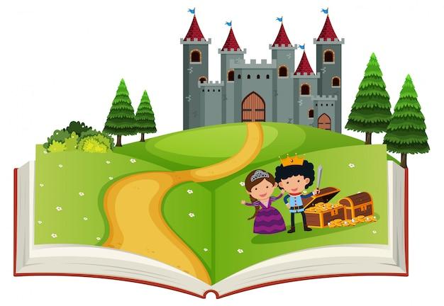 História de conto de fadas de livro aberto