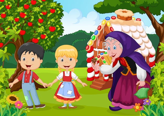 História de crianças clássicas. hansel e gretel com bruxa