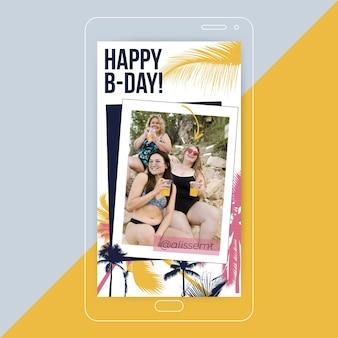 História de feliz aniversário tropical instagram