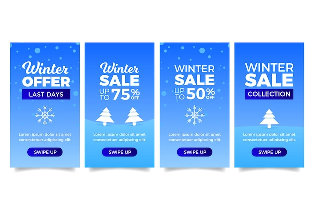 História de instagram de venda de inverno com árvores de natal
