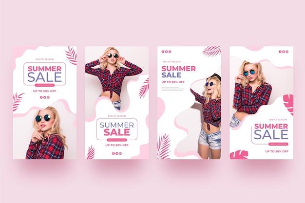 História de instagram de venda de verão moda mulher