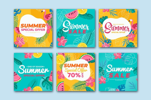 História de instagram de vendas de verão de padrão colorido