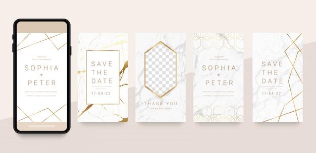 História de mídia social de luxo e post com ouro e mármore