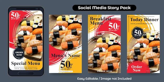 História de mídia social para comida