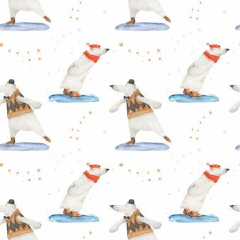 História de natal do urso polar para papel de embrulho