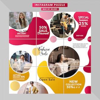 História de quebra-cabeça de mídia social de moda