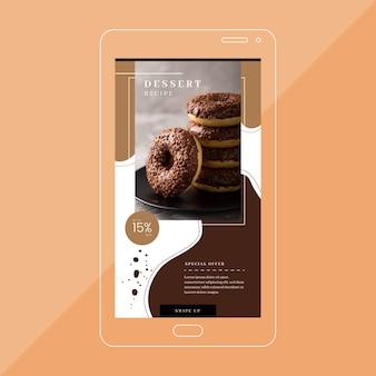 História de receita de sobremesa no instagram