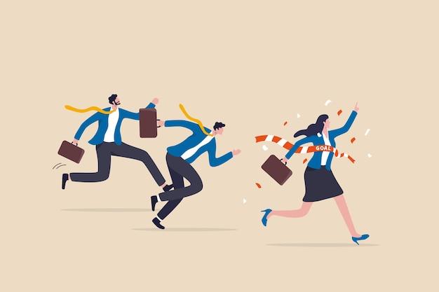 História de sucesso de mulher, liderança feminina ou vitória empresarial, igualdade de gênero, poder do feminismo para vencer o conceito de competição, empresária confiante alcançar a linha de chegada vencer a competição sobre o colega de homens.