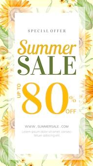 História de venda de verão com decoração floral desenhados à mão