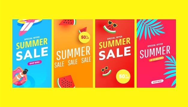 História de verão ambientada com formas de bolhas de folhas tropicais e acessórios de praia