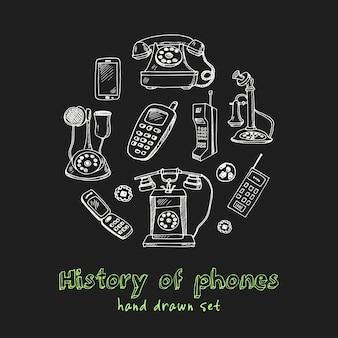 História do conjunto de doodle desenhado à mão de telefones
