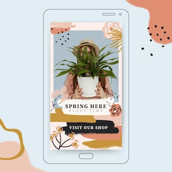 História do instagram com pintura abstrata colorida da primavera