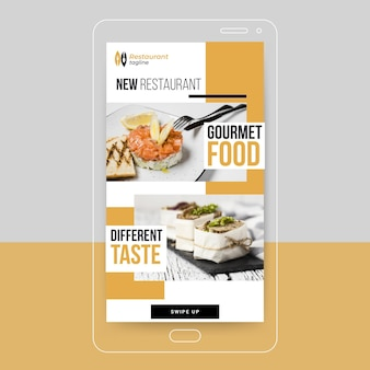 História do instagram de comida gourmet