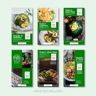 História do instagram de comida vegetariana ou modelo de banner