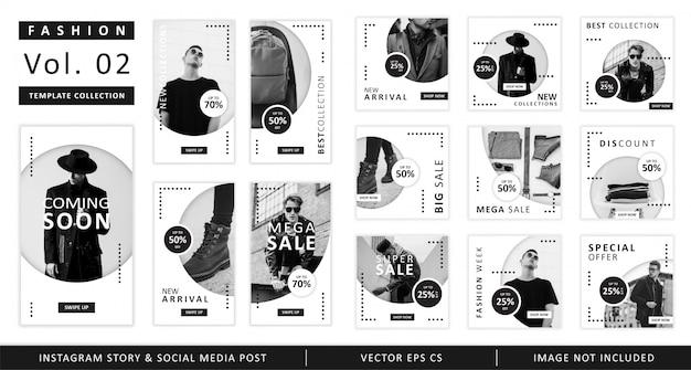 História do instagram de moda e coleção de modelo de postagem de mídia social