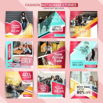 História do instagram de moda e modelo de postagem