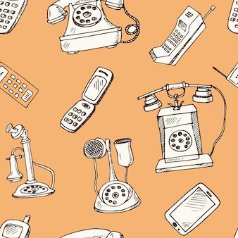 História dos telefones padrão sem emenda de doodle desenhado à mão