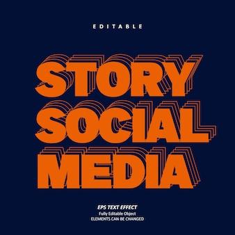 História em negrito mídia social neon linha efeito de texto vetor premium editável