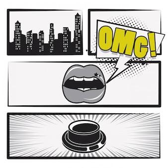 História em quadrinhos cartoon de arte pop em preto e branco