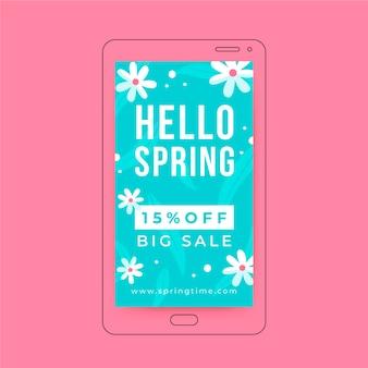 História floral minimalista da primavera no instagram