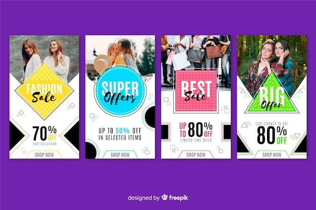 Histórias abstratas coloridas do instagram de venda com formas geométricas de venda