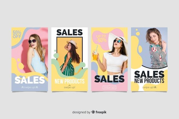 Histórias abstratas coloridas do instagram de venda com foto