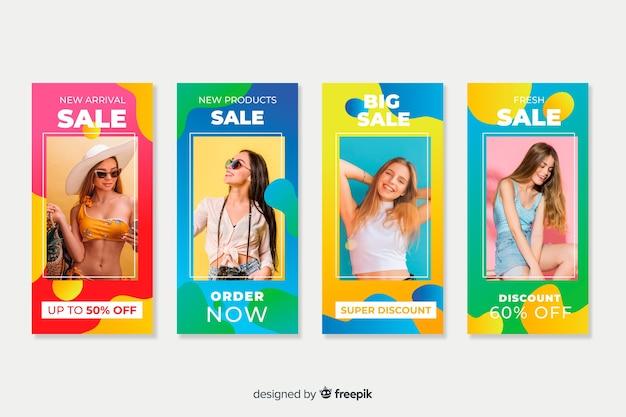 Histórias abstratas coloridas do instagram de venda com imagem