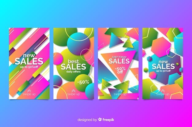 Histórias abstratas coloridas do instagram de venda