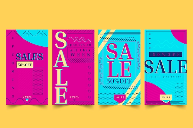 Histórias coloridas abstratas da venda sazonal do instagram
