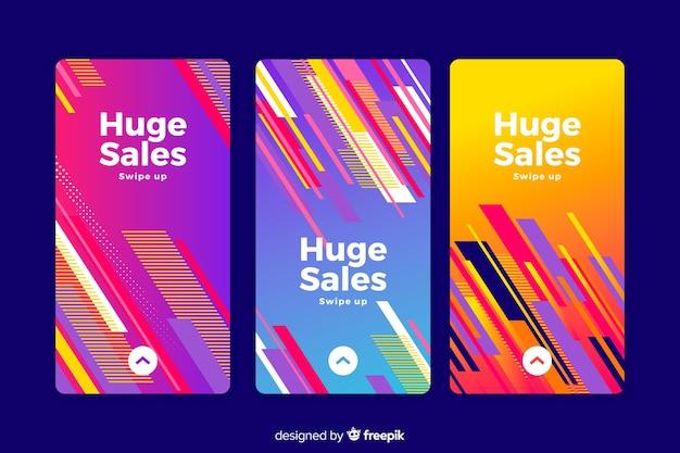 Histórias coloridas abstratas do instagram de venda