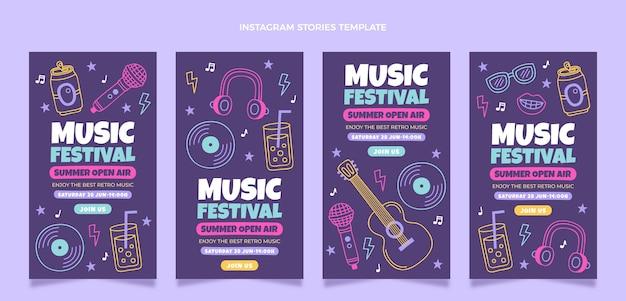 Histórias coloridas desenhadas à mão em festivais de música