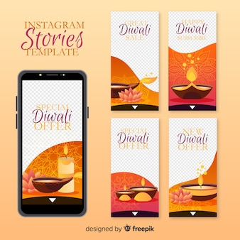 Histórias coloridas do instagram de diwali