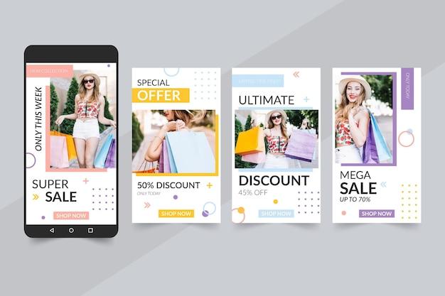 Histórias coloridas do instagram de venda