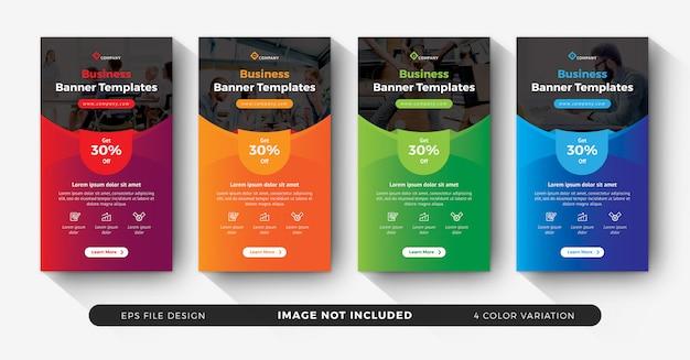 Histórias corporativas do instagram para publicidade com variação de cores