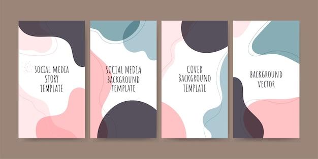 Histórias da moda nas redes sociais com fundos abstratos
