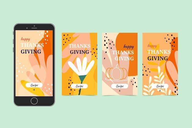 Histórias de ação de graças desenhadas à mão no instagram
