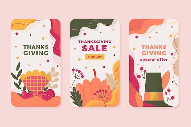 Histórias de ação de graças no instagram em design plano