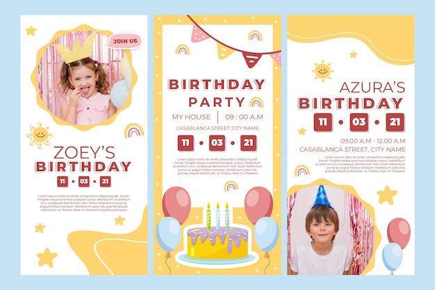 Histórias de aniversário de crianças no instagram