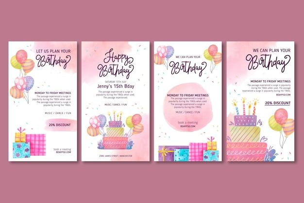 Histórias de aniversário de crianças no instagram Vetor grátis