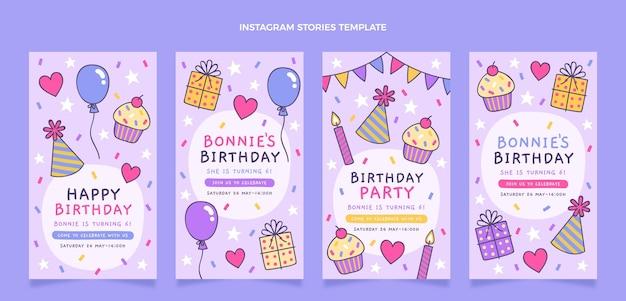 Histórias de aniversário infantis desenhadas à mão no instagram