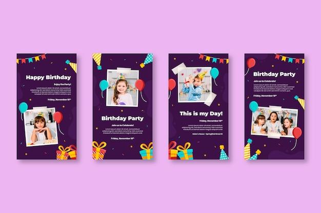 Histórias de aniversário no instagram, festa infantil