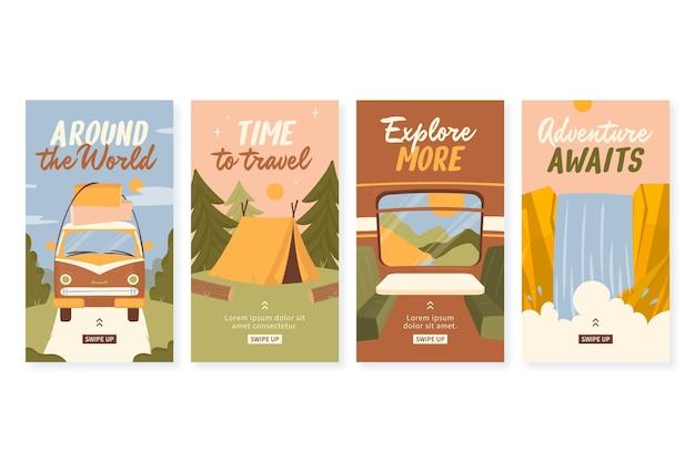 Histórias de aventura desenhadas à mão no instagram