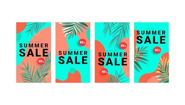 Histórias de banner de venda de verão para mídia social. modelos coloridos com folhas tropicais, formas líquidas